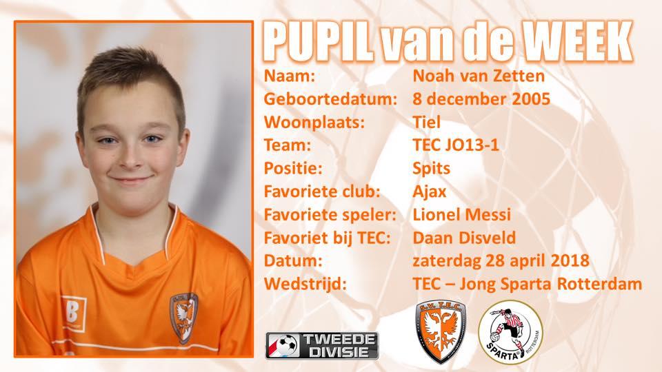 🧡| Pupil van de week Noah van Zetten