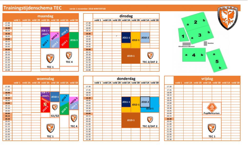 TEC Trainingsschema 2018-2019