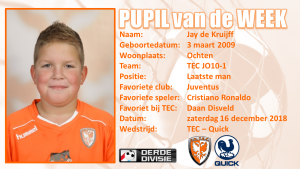 Pupil van de week Jay de Kruijff