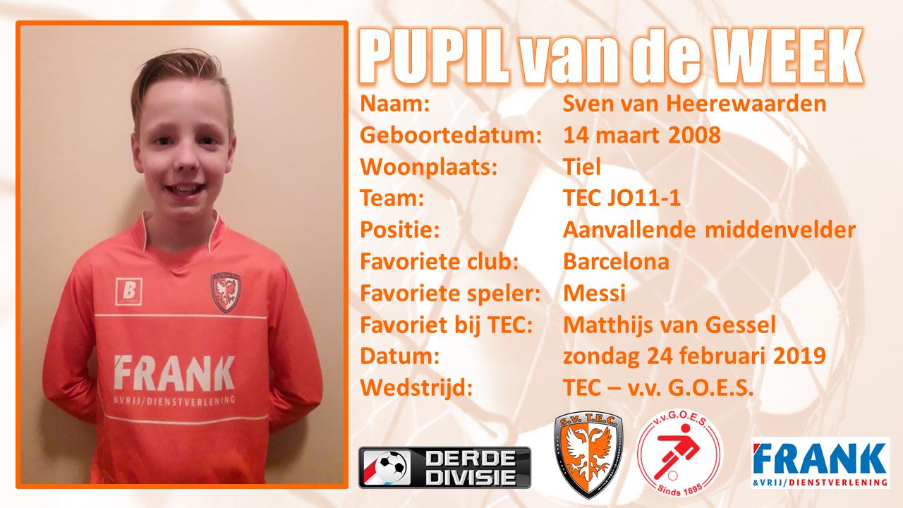Pupil van de week Sven van Heerewaarden