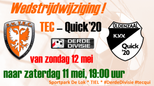 Competitiewedstrijd TEC - Quick'20 @ Sportpark De Lok