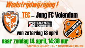 Wijziging TEC - Jong FC Volendam