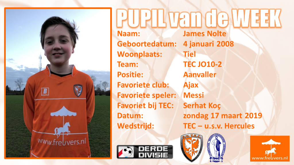 Pupil van de week James Nolte