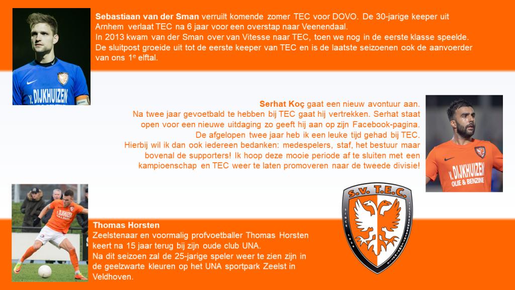 Vertrekkende spelers TEC: Sebastiaan van der Sman, Serhat Koc, Thomas Horsten