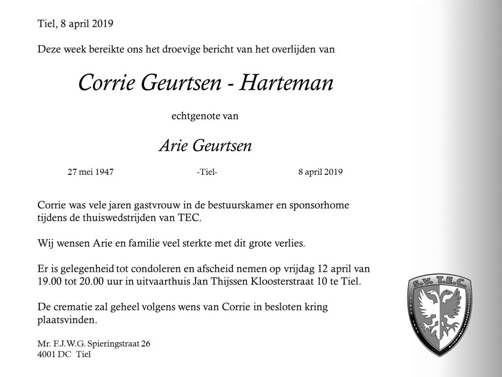 Corrie Geurtsen overleden