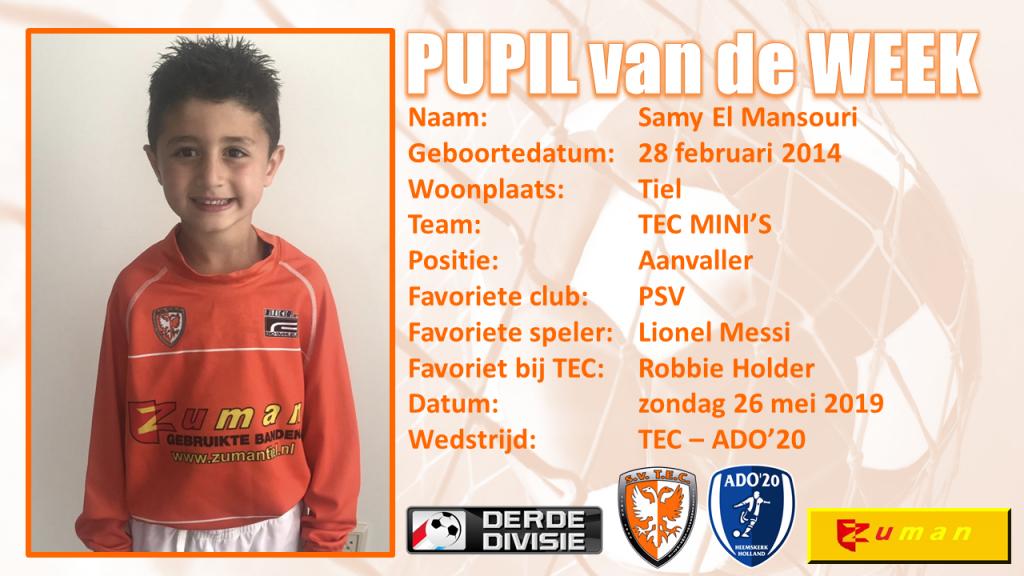 🧡 | Pupil van de WeekSamy El Mansouri🧡 | TEC - ADO'20
