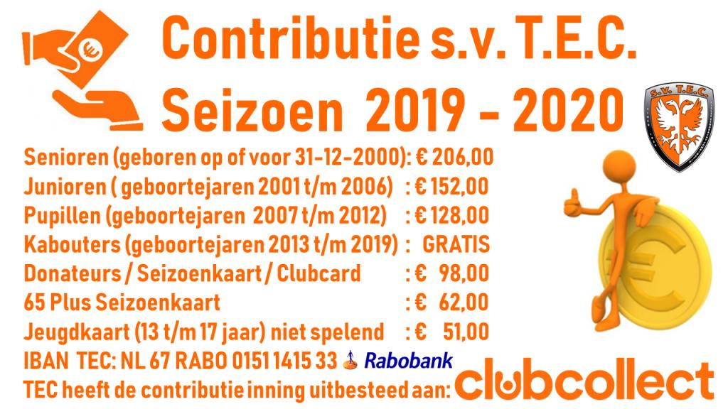 Contributie TEC - Entree Prijzen TEC 1 - Toegang - 2019-2020