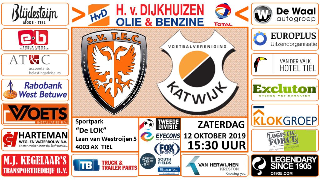 TEC - Katwijk | Tweede Divisie | zaterdag 12 oktober 2019 | Aanvang: 15.30 uur | Sportpark De Lok, Tiel