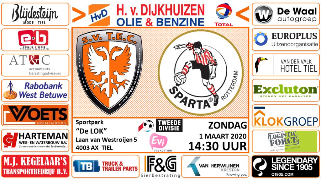 TEC - Jong Sparta Rotterdam | Tweede Divisie | Zondag 1 maart 2020