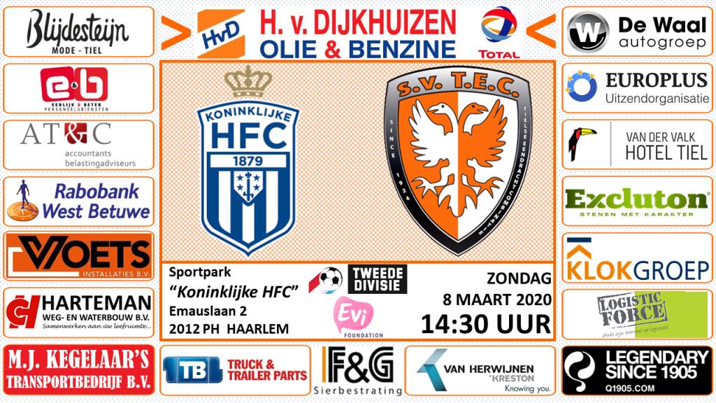 Koninklijke HFC - TEC | TWeede Divisie | Zondag 8 maart 2020 | Aanvang: 14.30 uur | Sportpark HFC, Haarlem