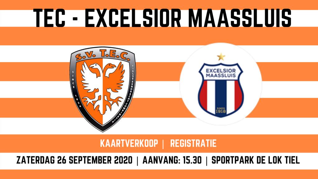 TEC - Excelsior Maassluis | Tweede Divisie | Zaterdag 26 september 2020 | Aanvang: 15:30 uur | Sportpark De Lok Tiel | Registratie & Kaartverkoop