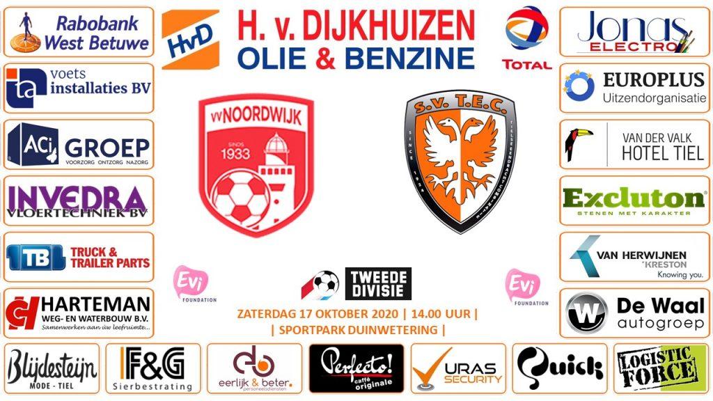 Noorwijk - TEC | Tweede Divisie | Zaterdag 17 oktober 2020 | Sportpark Duinwetering | Aanvang: 14:00 uur | Live-uitzending Fox Sports