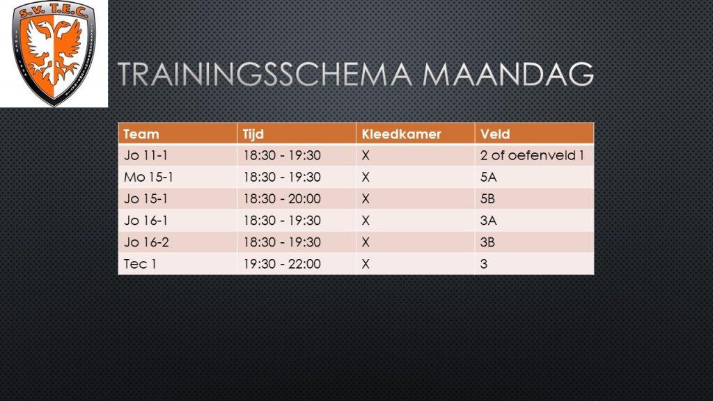 Trainingsschema TEC - 11.1.2021