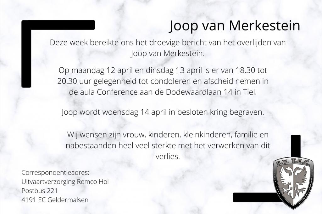 Joop van Merkestein overleden | Tiel 7 april 2021