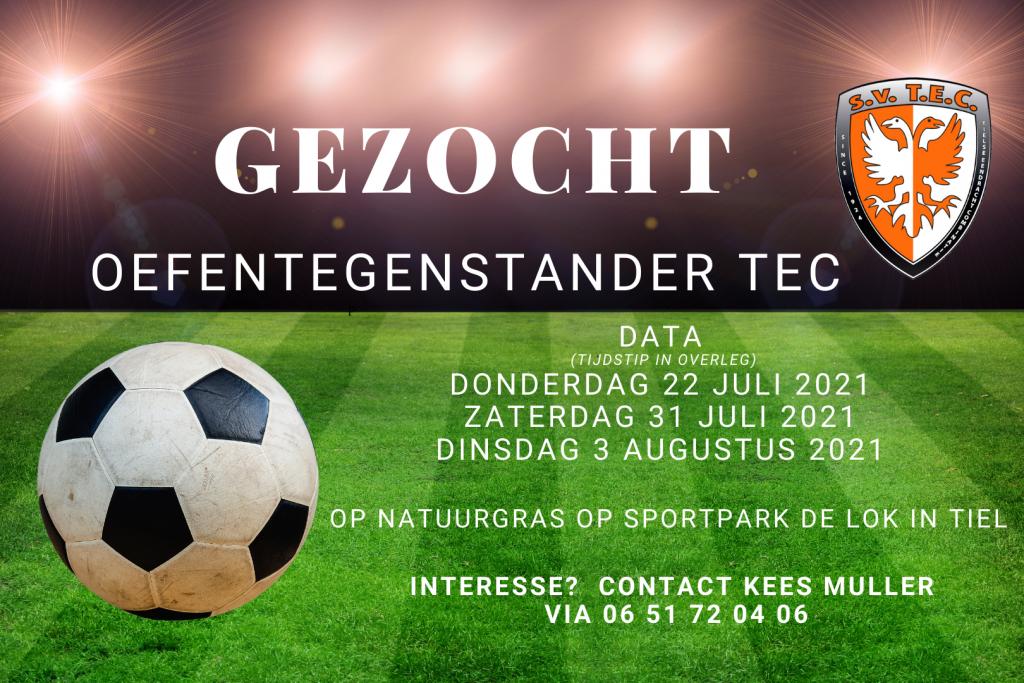 Tweededivisionist TEC uit Tiel zoekt nog 3 oefentegenstanders in voorbereiding op het nieuwe seizoen! | Natuurgras | Tweede Divisie | Oefenwedstrijd |