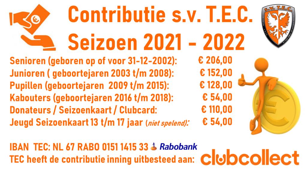 Contributie TEC Tiel 2021-2022